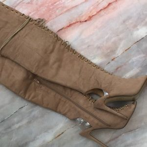 MISSGUIDED THIGH HIGH OPEN TOE BOOTS SIZE 7